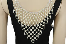 Women Long Open Back Necklace Silver Metal Fashion Jewelry Wedding Pearl Beads