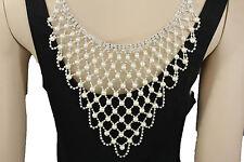 Women Long Open Back Necklace Silver Metal Fashion Jewelry Wedding Pearl Beads