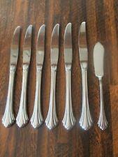 """New listing 6 Dinner Knives/Butter Knife Oneida Bancroft Stainless Flatware 9 1/8"""" Usa"""