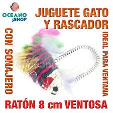 JUGUETE RASCADOR GATO RATÓN SONAJERO INTERIOR  VENTOSA PARA VENTANA L127 2952