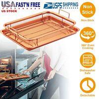 Pizza Tray Pan Crisper Non-Stick Steel Copper Basket Chef Baking Cookware US