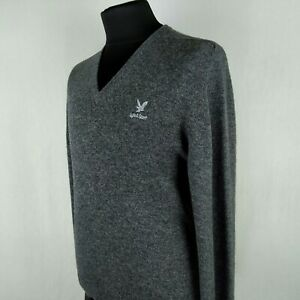 Lyle & Scott Mens Wool Jumper Pullover Grey L