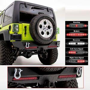 Rock Crawler HD Rear Bumper+RED TWIN Brake Taillight for 07-17 Jeep JK Wrangler