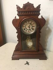 Beautiful Antique Eastlake Kroeber Parlor Clock W/ Fancy Glass Pendulum
