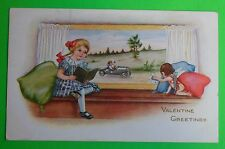 Girl/Window Cupid Waves Boy in Hot Rod-Antique 1919 Whitney Valentine Postcard