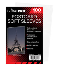 (100 Count) Ultra Pro Postcard Sleeves Archival Safe (1 Pack) Acid Free No PVC