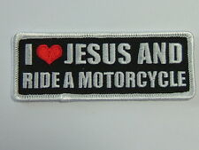 """BIKER PATCH """"I LOVE JESUS AND RIDE A MOTORCYCLE""""  embroidered emblem, PPL9292"""
