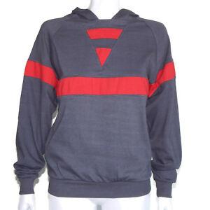 Vtg 1980s peter b Sporty Color Block Gray Red Dolman Hooded Sweatshirt sz M /235
