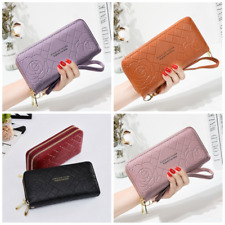 New Flower Long Double Zip Women Leather Wallet Clutch Card Holder Purse Handbag