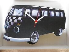 Negro A Cuadros Samba de diseño clásico de Vw Camper Van Reloj De Pared. Nuevo Y Sellado
