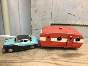 Vintage Tin Friction Toy Car w/ Camper Trailer Made in Japan *As Is*
