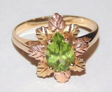 Black Hills Gold 10 kt 12 kt Peridot Multiple Leaves Ring Size 7 1/2 Coleman