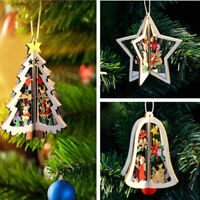 3D Wooden Bell Star Christmas Tree Decor Hanging Ornaments for Xmas Decorations