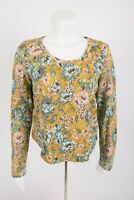 Lilka Anthropologie Women's Shirt Sweater M Floral Goldenrod Yellow French Terry