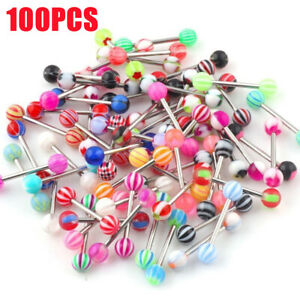 100 PCS  Wholesale Lot Tongue, Nipple Rings Body Jewelry Tounge 14g