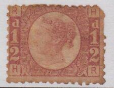 "GB QV 1/2d Rose SG49 Plate 8 Halfpenny Bantam ""HR"" 1870 Unused Stamp - Faults"