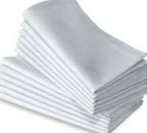 "100% COTTON PLAIN WHITE SMALL VALUE NAPKINS SIZE 18X18"" (46x46cm) 4 HEMS 180GSM"