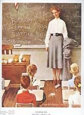 "Norman Rockwell print: ""SURPRISE!"" students 3rd grade school TEACHER's BIRTHDAY"