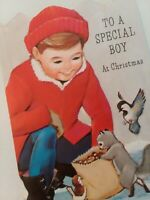 UNUSED Vtg 1950-60s BOY Feeds BIRDS Squirrel Embossed CHRISTMAS GREETING CARD