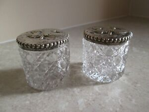 ANTIQUE PAIR OF CUT GLASS JARS WITH SILVER PLATED LIDS - SLEEPING BEAUTY
