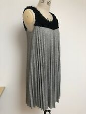 Almost Famous Uk10 Cotton Blend Pleated Black & Grey Sleeveless Dress