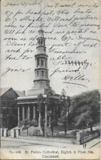 St Peters Cathedral Eights & Plum Sts Cincinnati O OH Vintage Postcard used 1907