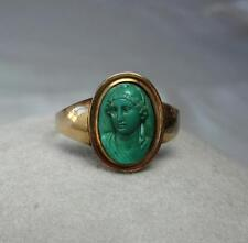Russian Malachite Cameo Ring 14K Gold Rare Antique Russia Faberge Belle Epoque