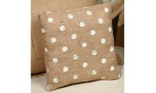 "CREAM POLKA DOT Primitive Small Burlap Pillow - 8"" x 8"""