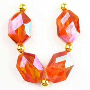 4Pcs/set Faceted Orange Titanium Crystal Hexagon Pendant Bead H77256