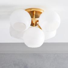 John Lewis & Partners Staggered Glass 5 Light Flushmount, Brass/Milk - RRP £299