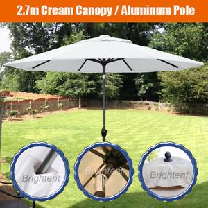 Garden 2.7M Patio Parasol Table Umbrella w/ 8 Sturdy Ribs Cream Canopy PW27C