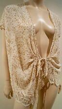 EMANUEL UNGARO Cream & Beige 100% Silk Animal Print Tie Front Blouse Top UK14