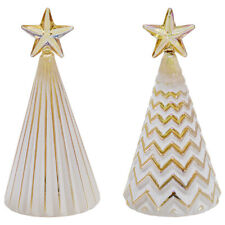 """5"""" Light-Up Glass Christmas Tree Figurine Ornaments with Gold Star, Set of 2"""