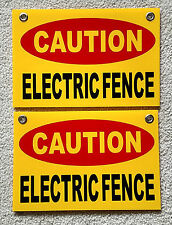 """2 CAUTION ELECTRIC FENCE Plastic Coroplast Signs 8""""X12"""" w/Grommets FREE SHIP y"""