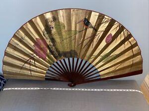 Vintage Asian Large Hand Painted Bamboo Bird Lotus Fan Wall Art Gold Metallic