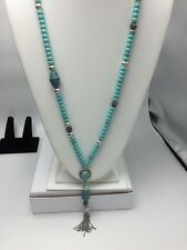 LUCKY BRANDNECKLACETURQUOISE BEADSTASSEL,CRYSTALS F-23