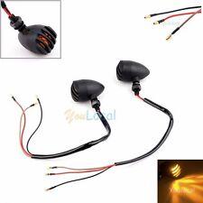 2xMini 12V Black Motorcycle Turn Signal Bullet Blinker Indicator Lights Amber US