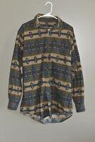 Woolrich Green Southwest Striped Flannel Cotton Long Sleeve Shirt Men's Size L