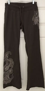 Lucky Brand Embroidered Floral Appliqué Sweatpants Lounge Stretch Medium