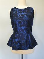 Sportsgirl Womens Size 8 Casual Metallic Blue Patterned Peplum Sleeveless Top