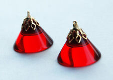 VINTAGE RUBY RED PLASTIC CONE SHAPED PENDANTS BRASS BEAD CAPS • 18x15mm