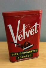 Velvet Pipe & Cigarette Tobacco Vintage Tin Can Container