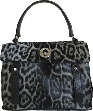 YSL DARK GRAY LEOPARD PRINT CALF FUR MUSE II HANDBAG BAG BLACK LEATHER NEW NWT