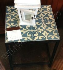 Pottery Barn Bistro Tile Side Table Patio Blue Moroccan Damask Fleur De Lys NIB