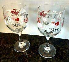 Mr & Mrs Wedding I do Hearts Flowers Rings & Bells  Wine Glasses