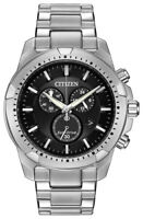 Citizen Eco-Drive Men's Chronograph Black Dial Bracelet 42mm Watch AT2260-53E