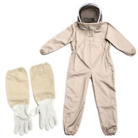 Full Body Anti-bee Suit Beekeeping Clothe Cotton Veil Hood Protective+Gloves XL