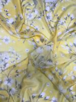 New Gorgeous Spring/Summer Floral Pale Yellow Square 100% Pure Silk Scarf/Stole