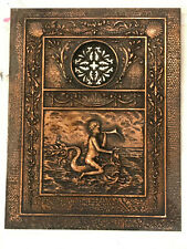 Antique Copper Plated Fireplace Cover Cherub Riding Cetus C&B no. 613