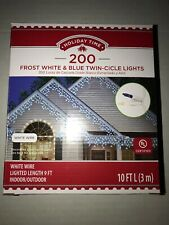 Christmas Holiday Time 200 Frost White & Blue Twin-Cicle Lights with White Wire